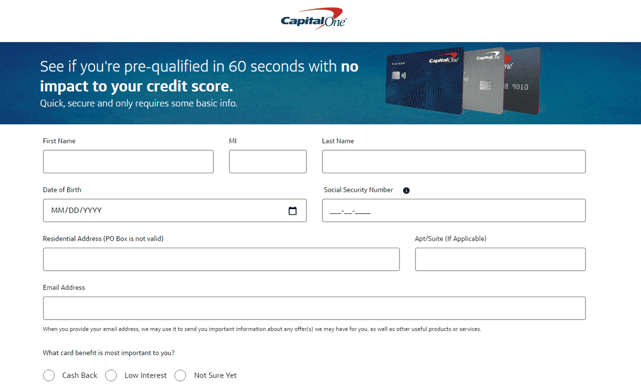 Capital One Prequalify Application
