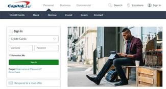 Screenshot of Capital One website log in.