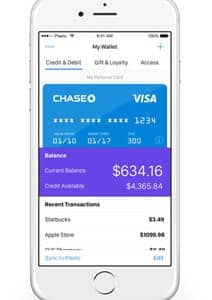 Image of iPhone displaying Plastc Wallet app