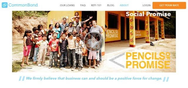 CommonBond screenshot of Social Promise page