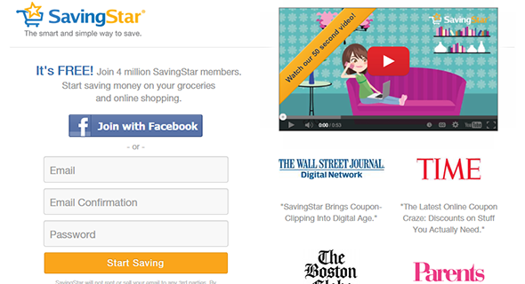 Signing up at SavingStar