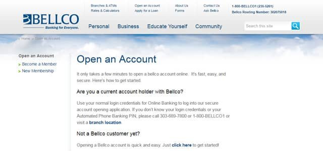Bellco sign-up page