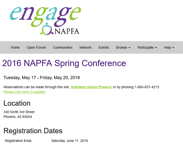 A screenshot of the NAPFA event registration
