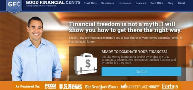 Screenshot of the Good Financial Cents homepage