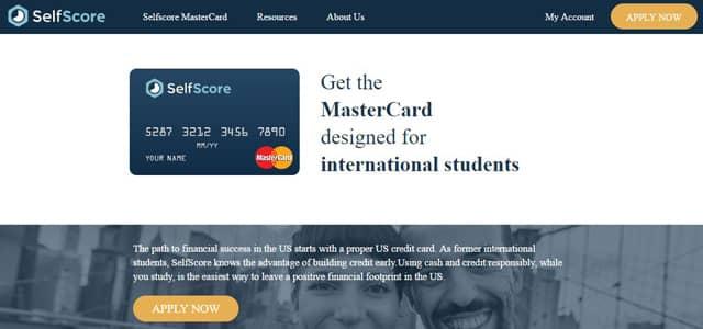 Screenshot of SelfScore's MasterCard page