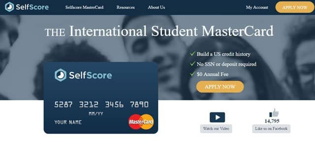 Screenshot of SelfScore homepage