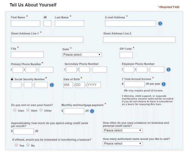 Screenshot of a credit card application
