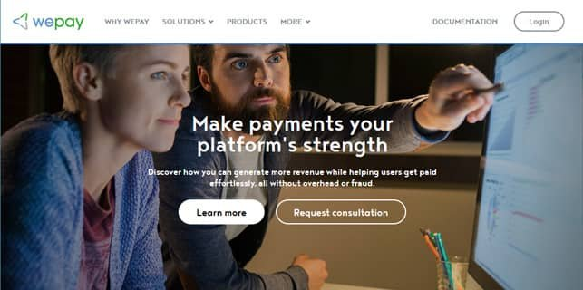 Screenshot of WePay homepage