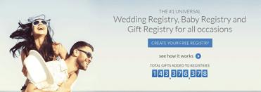 A screenshot of MyRegistry's homepage
