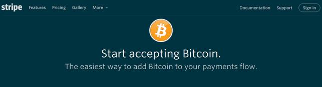 Screenshot of Stripe Bitcoin Information Page