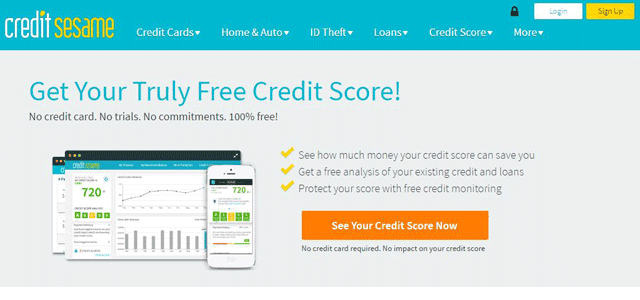 Screenshot of the Credit Sesame free credit report page