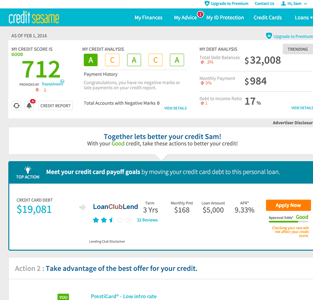 Screenshot of the Credit Sesame credit report page