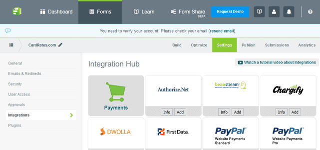Screenshot of Formstack Payments Integration Page