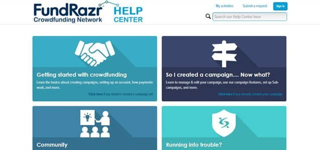Screenshot of the FundRazr Help Center page
