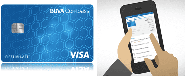 Collage of ClearPoints credit card and artistic rendering of the BBVA app