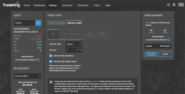 Screenshot of TradeKing LIVE Trade Tab