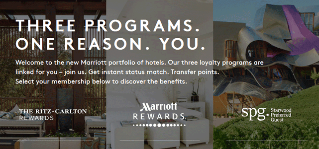Screenshot of Marriott International Homepage