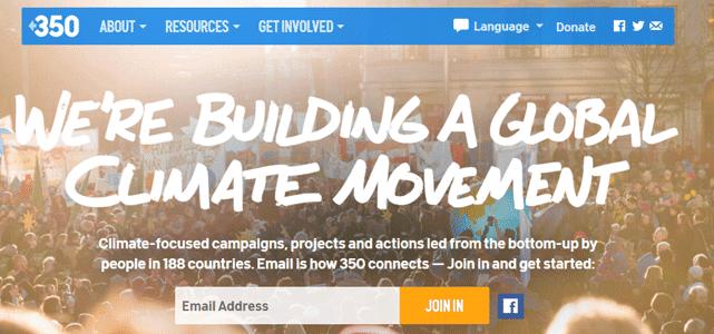 Screenshot of 350.org Homepage