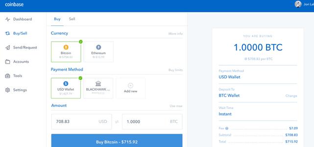 Screenshot of Coinbase Trade Page