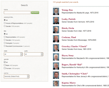 Screenshot of GovTrack Congressional Search Feature