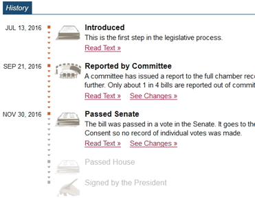 Screenshot of GovTrack History Feature