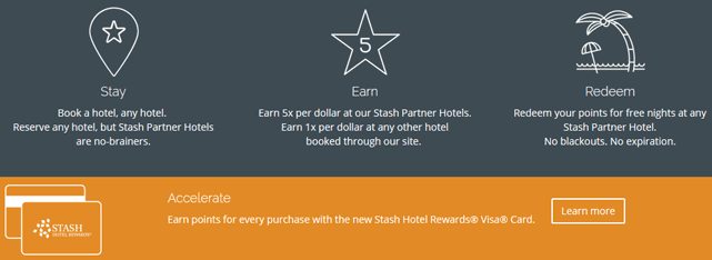 screenshot of stash hotel rewards program page