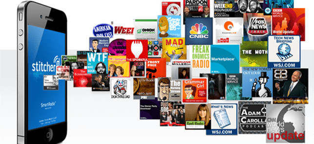 Collage of shows available on Stitcher