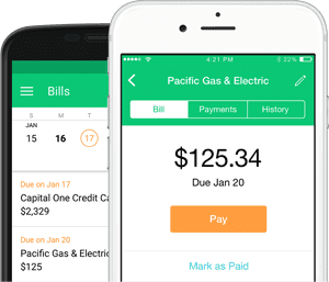 screenshot of mint bill pay feature