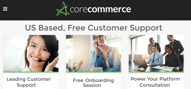 screenshot of corecommerce customer service page