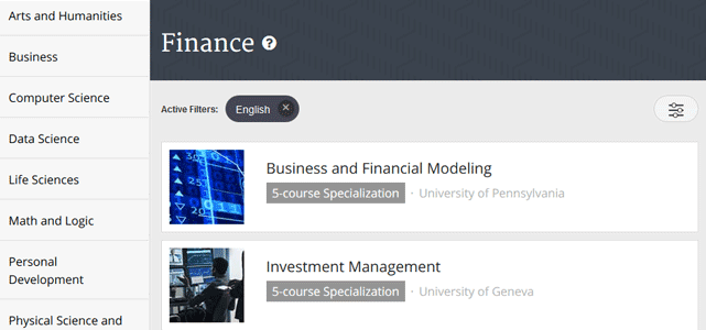 Screenshot of Coursera Finance Category