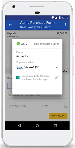 Screenshot of DocuSign Mobile Payments Interface