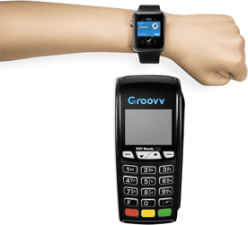 Photo of Groovv point-of-sale device accepting Apple Watch payment