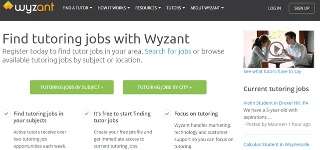 Screenshot of Wyzant's Tutor Application Page