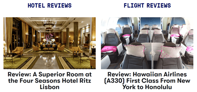 Screenshot of The Points Guy hotel and flight reviews