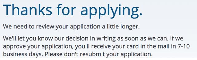 Screenshot of Pending Credit Card Application Message