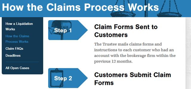 Screenshot of SIPC Claims Process Page