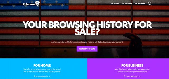 Screenshot of the F-Secure homepage