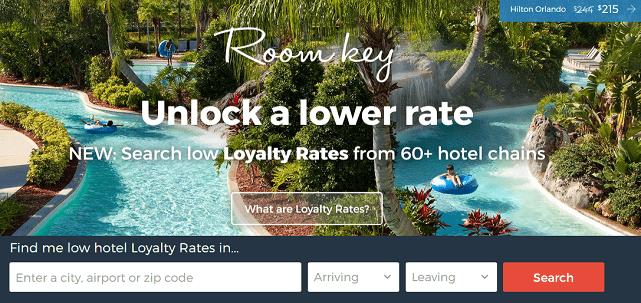 Screenshot of Room Key Homepage