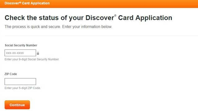 Screenshot of Discover Card Application Status