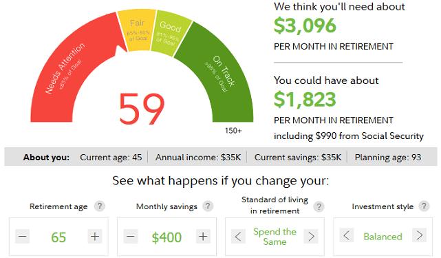 Screenshot of Fidelity Retirement Score
