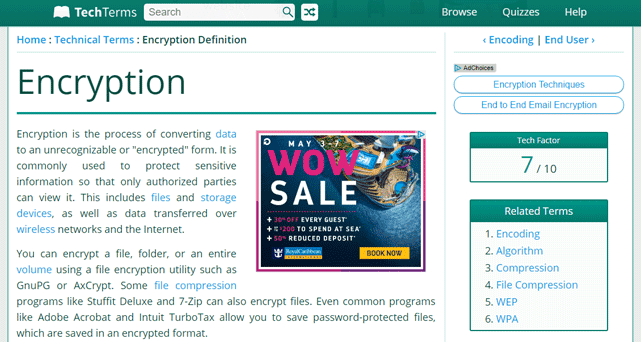 Screenshot of Tech Terms' definition of encryption