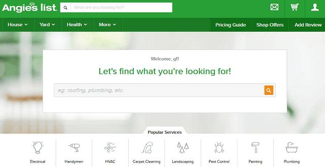 Screenshot of Angie's List Homepage