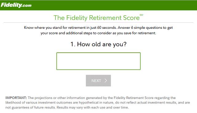 Screenshot of Retirement Score Question 1