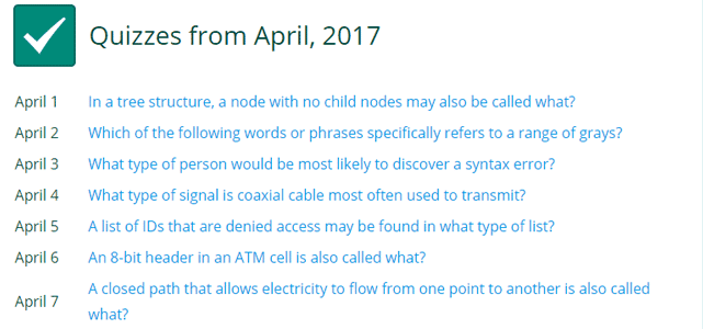 Screenshot of the quiz archive on Tech Terms from April of 2017
