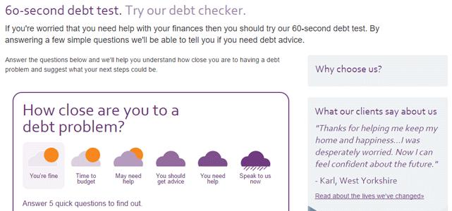 Screenshot of StepChange's debt checker questionnaire