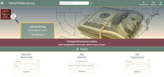 Screenshot of the FollowTheMoney.org homepage