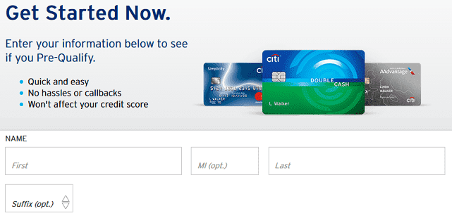 Screenshot of Citi Pre-Approval Form