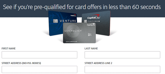 Screenshot of Capital One Pre-Qualification Page