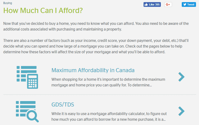 Screenshot from the RateHub Home Buying Guide
