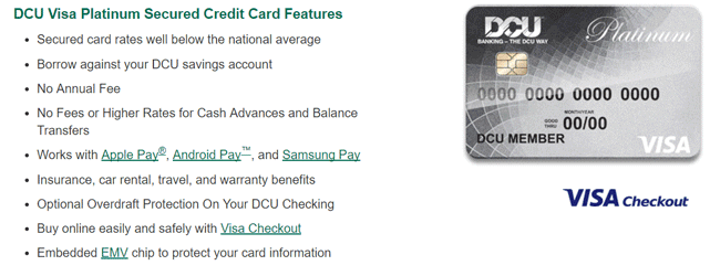 Screenshot of the DCU Visa Platinum Secured Credit Card